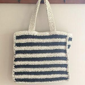 NWOT Striped Paper Straw Bag